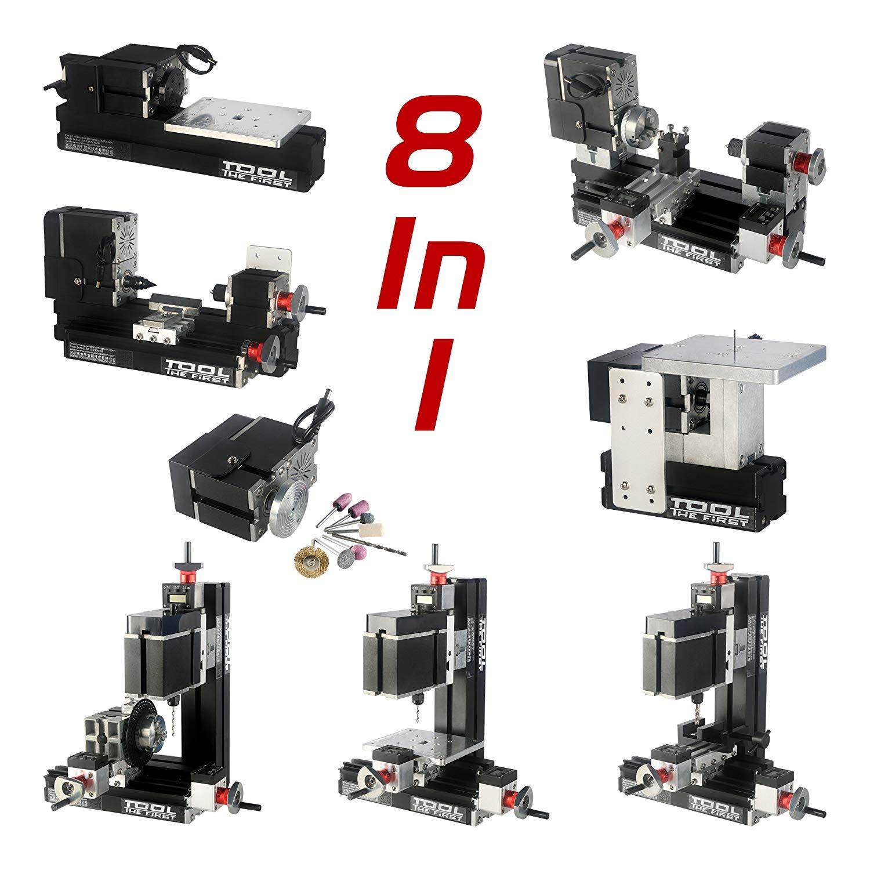 ZhouYu 8 in 1 kit DIY 60W electroplated metal Mini lathe kit, Mini Combination Machine Tools, Mini Lathe, Milling, Drilling, Dividing Drilling, Wood Turning, Jigsaw, Sanding, Hand-held Machine