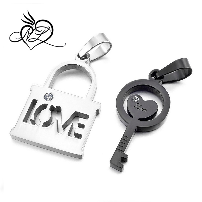 2PCS Stainless Steel Pendant Necklace CZ Silver Black Key Lock Heart Love Valentine's Couples His & Hers Set Elegant