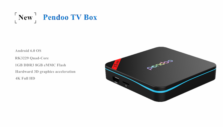 2019 Newest android tv box Pendoo X5 Pro Pre-installled KDplayer 17.0 software download set top box