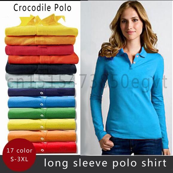 2015 крокодил мода марка женщины с длинным рукавом твердые рубашка поло классический Camiseta Masculina Большой размер xxxl