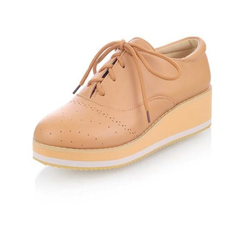 Platform Flat Shoes Women Casual Solid 2 Colors Lace-Up Cut-Outs Round Toe Soft Leather Flats Woman Handmade Size 31-43