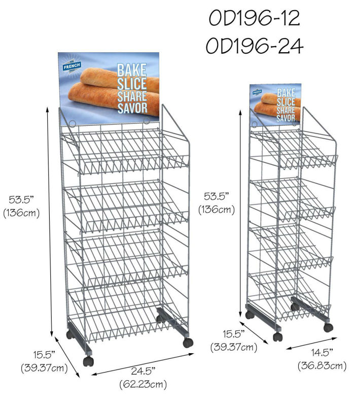 Supermarktbevloeringstandaard Metalen draad Brood Display Rack