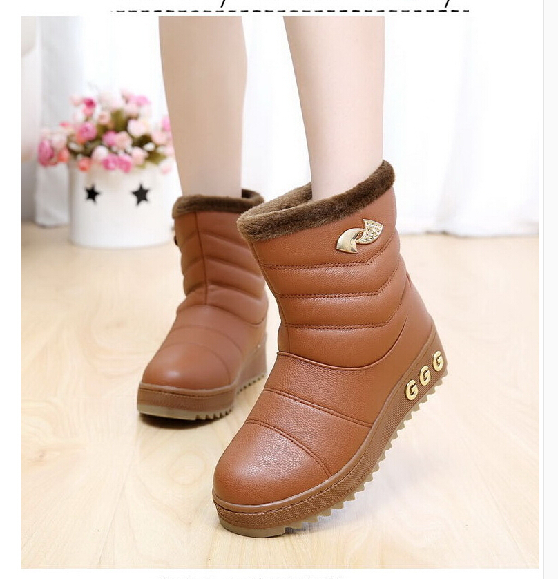 5c4d095e9d2 Women Snow Boots 2015 New Fashion Winter Flats Ankle Boots shoes woman Fur  boots Keep Warm