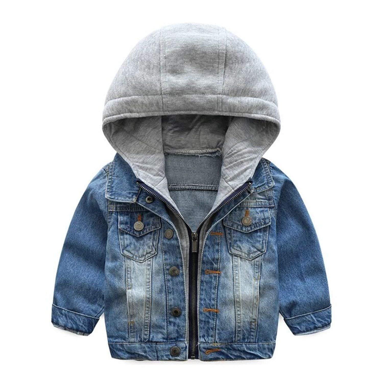 ZIYOYOR Kids Boys Girls Hooded Zipper Coat Baby Lapel Denim Coat Jackets Outerwear