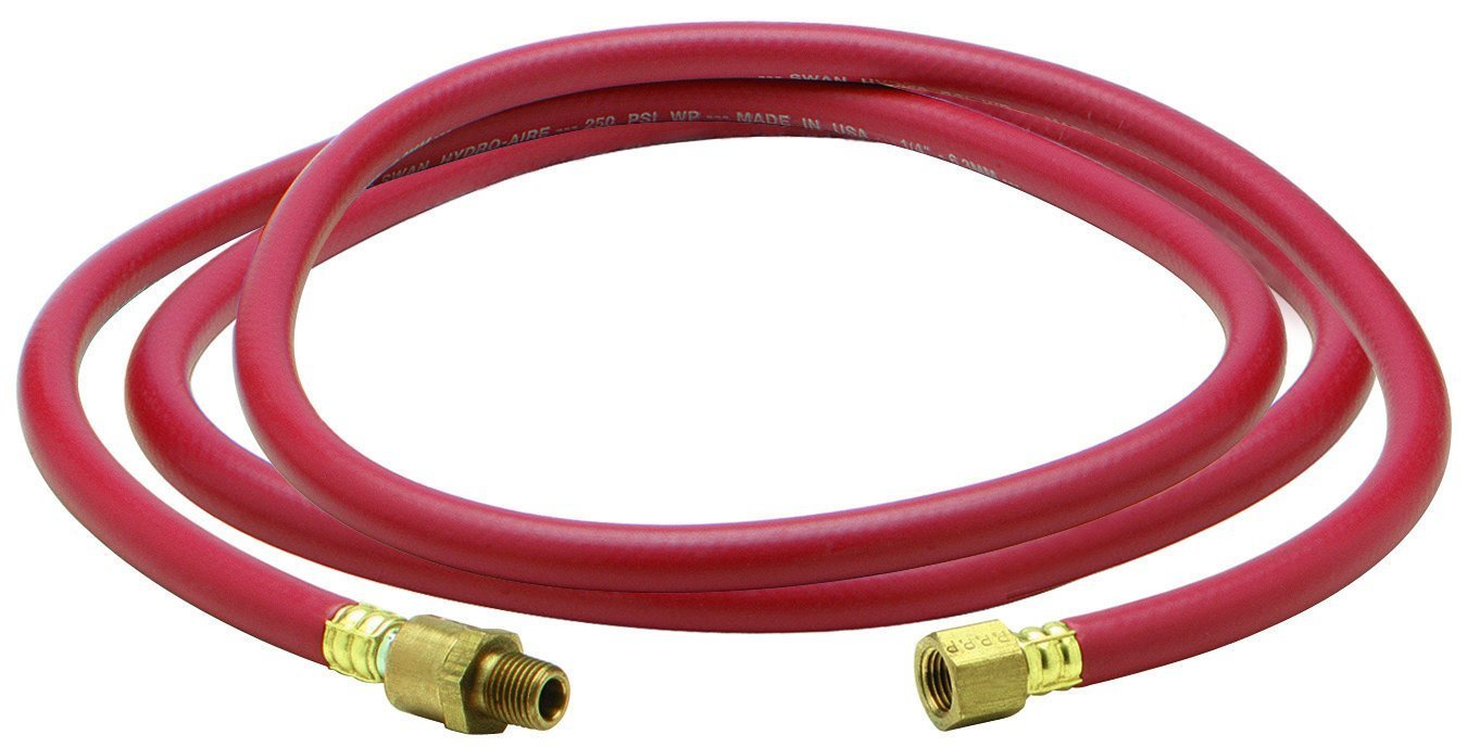 Amflo 12-50E Blue 300 PSI Polyurethane Air Hose 1//4 x 50 With 1//4 MNPT Swivel Ends And Bend Restrictor Fittings