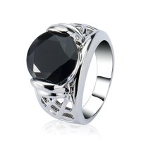 Fashion silver jewellery 18k gold plated black cubic zirconia ring for women men