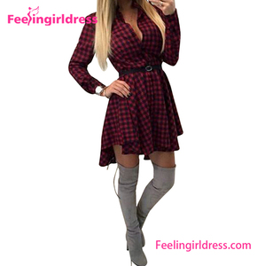 Retro Red Plaid Long Sleeve V Neck Skirt Belted Casual Shirt Dress Design