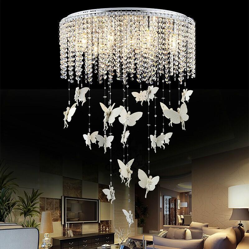 creative angel butterfly crystal ceiling lights modern led e14 kristallen lampen ceiling lamp. Black Bedroom Furniture Sets. Home Design Ideas