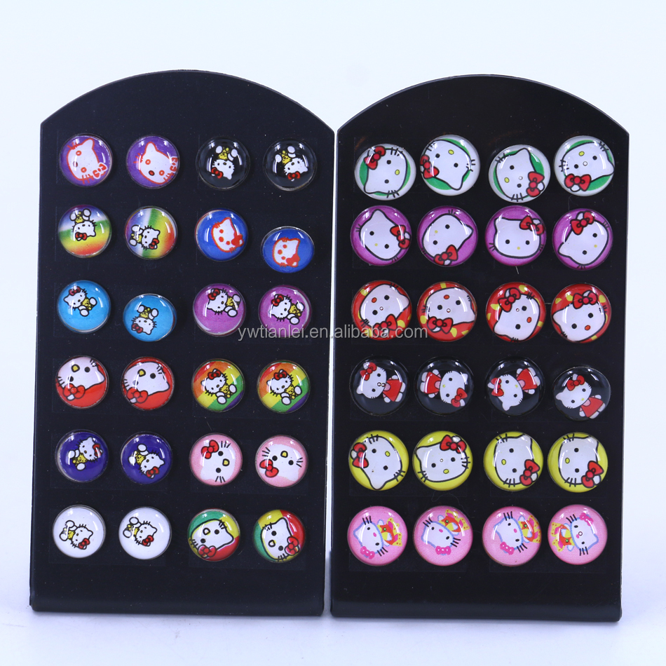 Free Shipping 8mm 10mm 12pairs Set Round KT Print Cartoon Design Resin Oil Dripping Metal Iron Stud Earrings, Mixed colors in random