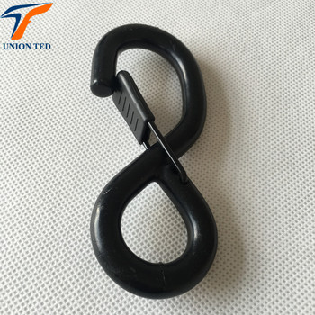 25mm BS 1200kgs china black plastic coated metal S hook with spring
