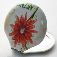 Shell shaped enamel metal compact pocket mirror with flower design