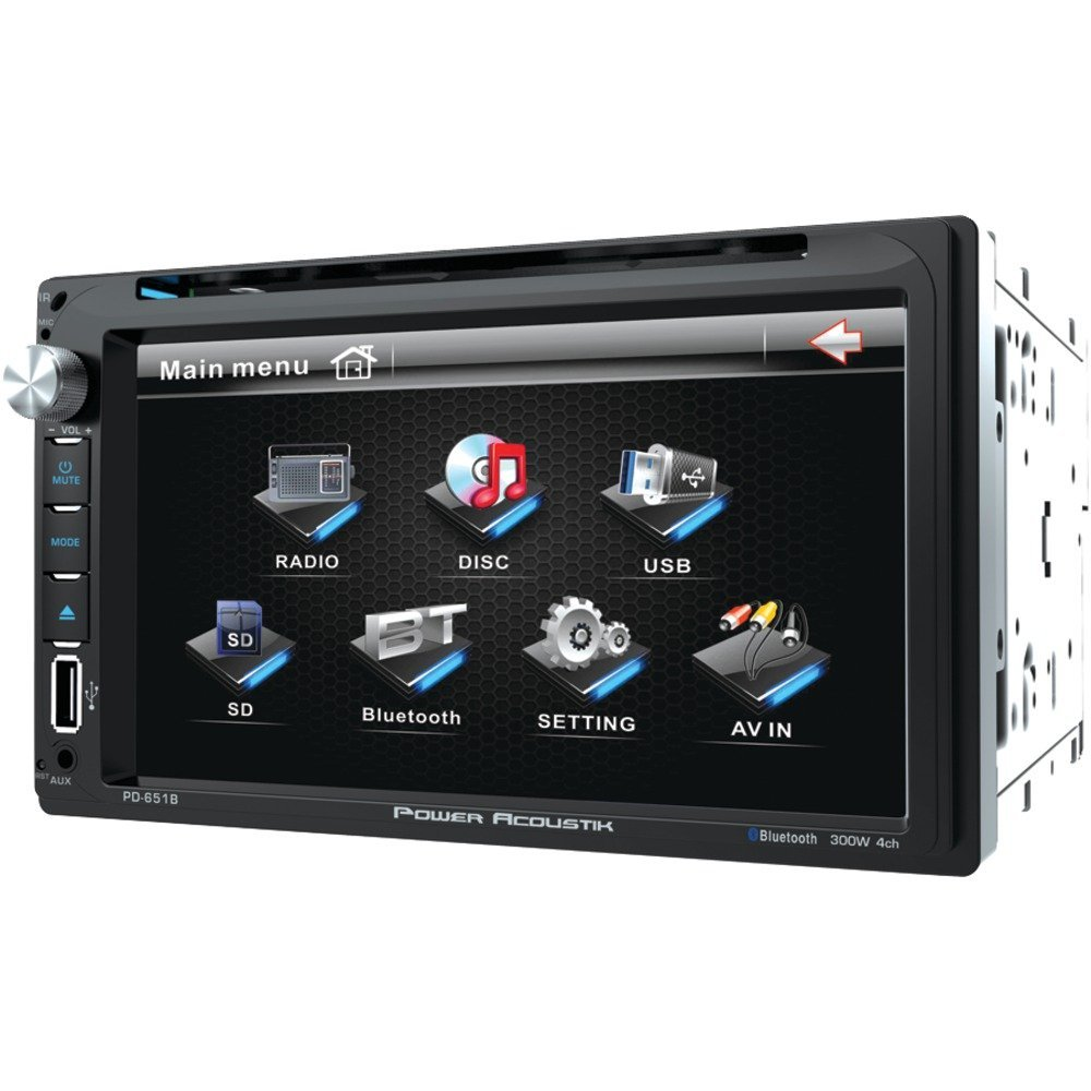 """6.5"""" 2DIN DVD RCVR W/BLTH, POWER ACOUSTIK PD_651B 6.5"""" Double-DIN In-Dash LCD Touchscreen DVD Receiver (With Bluetooth(R)), 6.5"""" double-DIN in-dash LCD touchscreen multimedia receiver with DVD play…"""