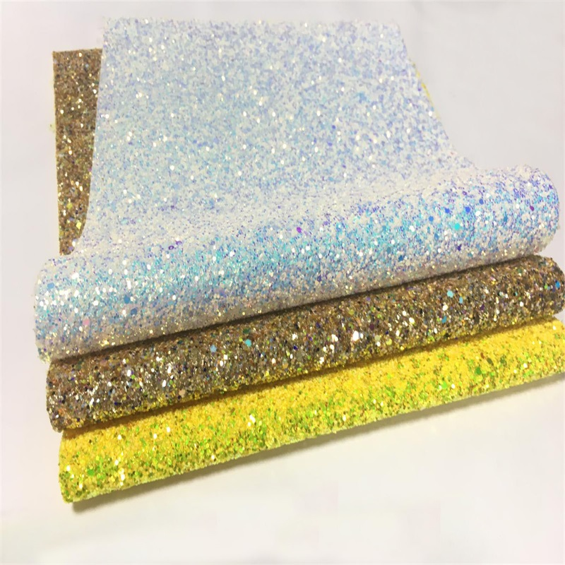 Holographic metallic chunky glitter <strong>leather</strong> fabric glitter synthetic <strong>leather</strong> for bags and hairbows