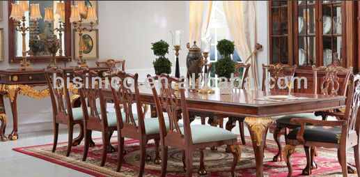 English Royal Style Dining Room Set, Antique Dining Furniture Set, Dining Table and Chairs, Exquisite Wood Carved Workmanship