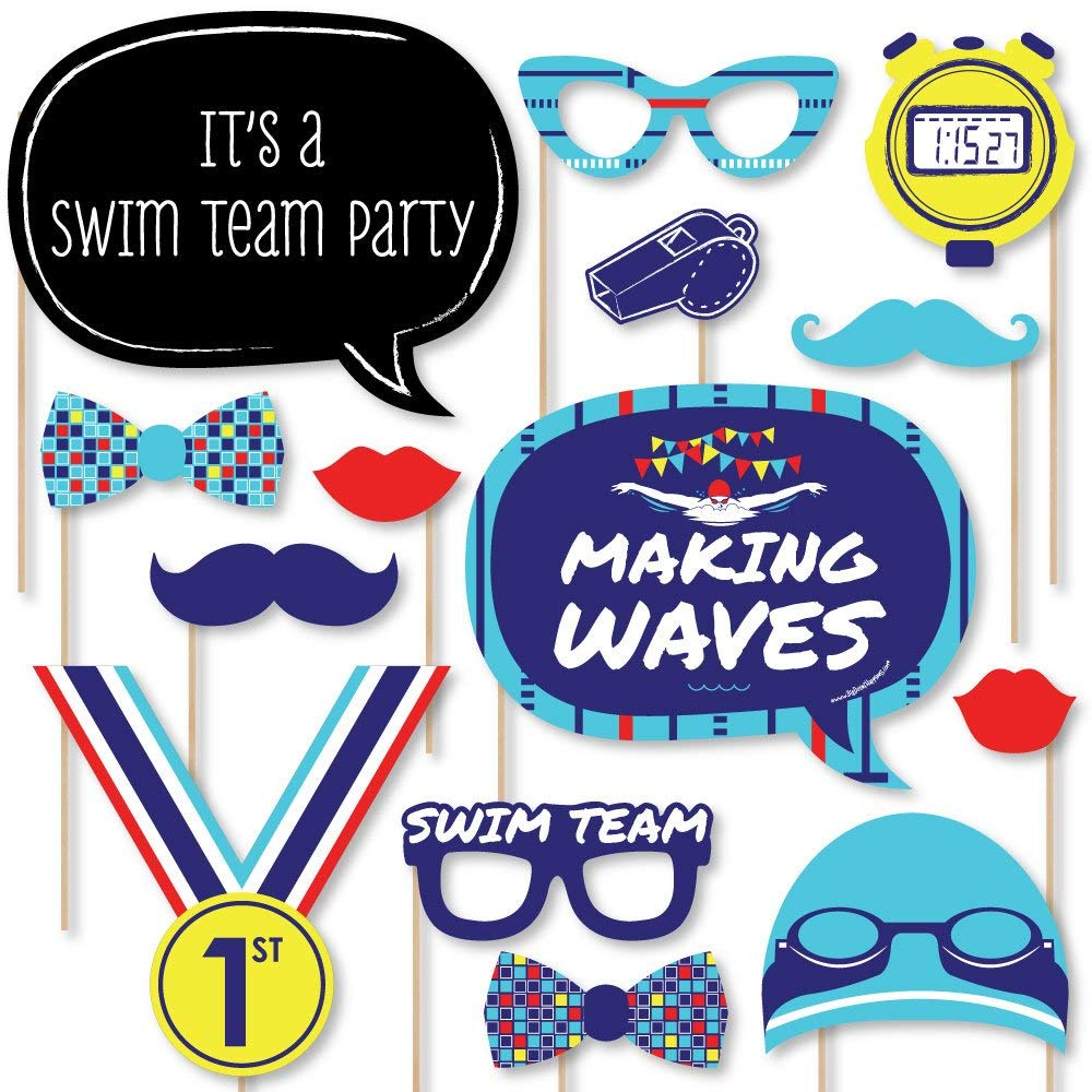 Big Dot of Happiness Making Waves - Swim Team - Swimming Party Birthday Party Photo Booth Props Kit - 20 Count