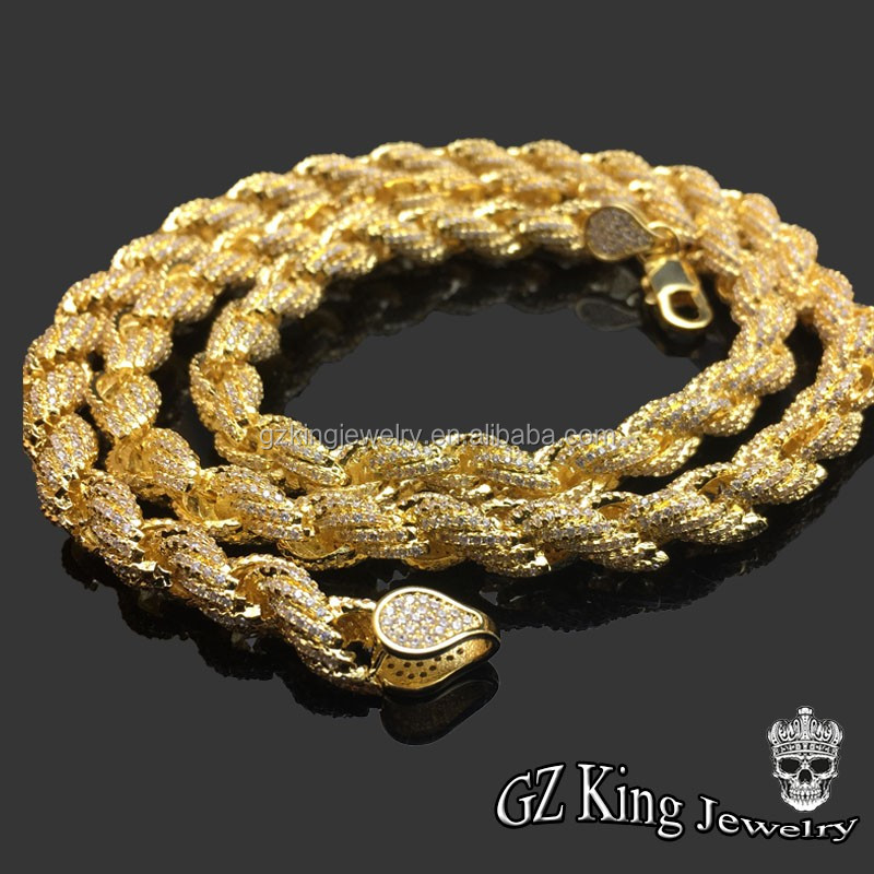 New Arrival !iced Out Aaa Cz Rope Chain 14k New Gold Jewelry Design ...