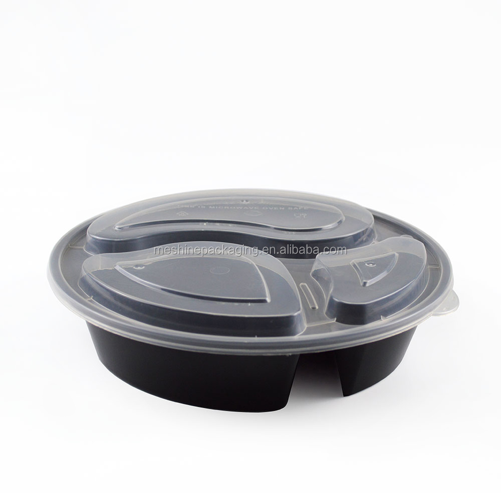 Disposable 3 compartment plastic take away bento lunch box food container