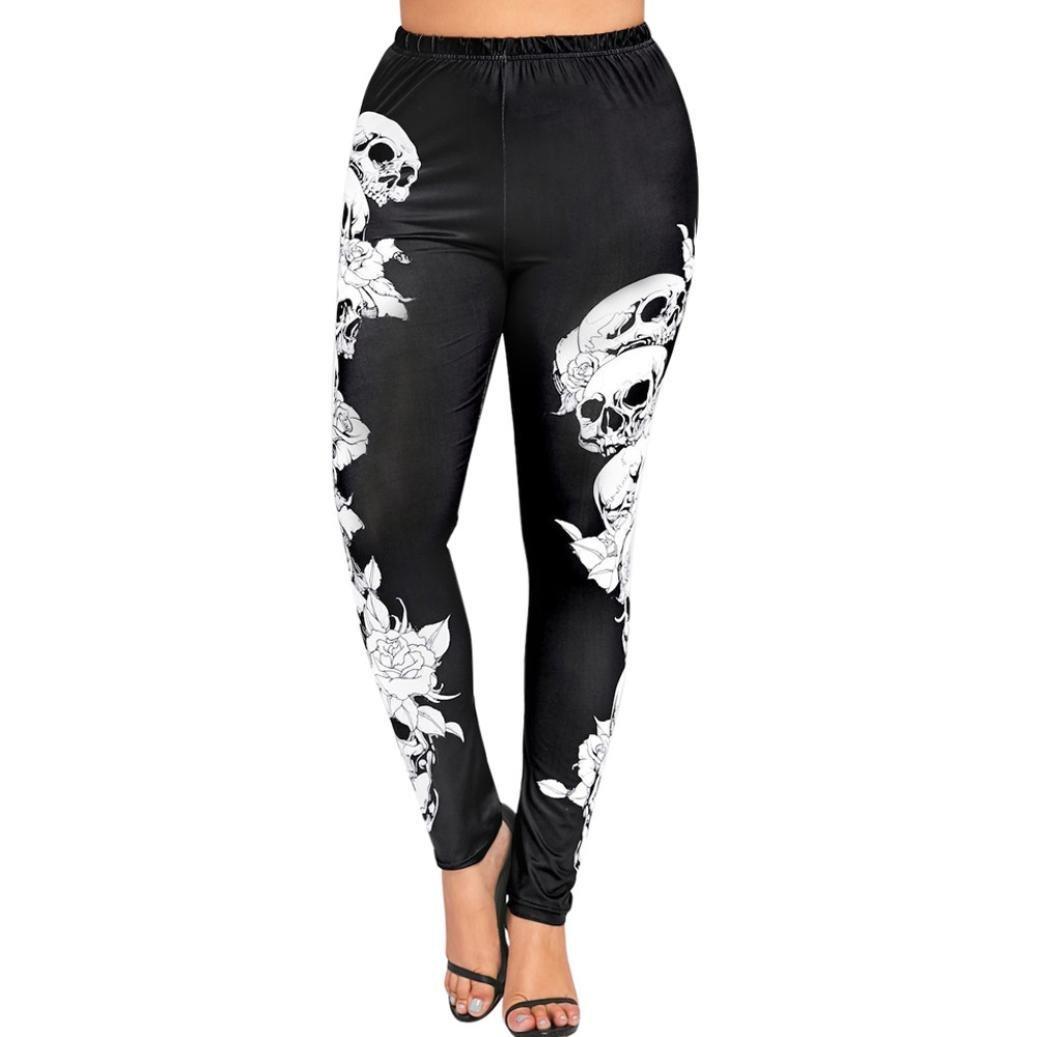 9eec5bdc88f Get Quotations · Nacome Women Pants High Waist Plus Size Sport Yoga Pants  Leggings Leggings Skulls Trousers