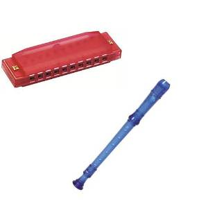 My First Recorder / Harmonica Pack -BPA FREE Blue Translucent Recorder w/Red Hohner Harmonica