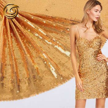 Professional cheap fashionable soft 100 polyester sequin gold paillette fabric