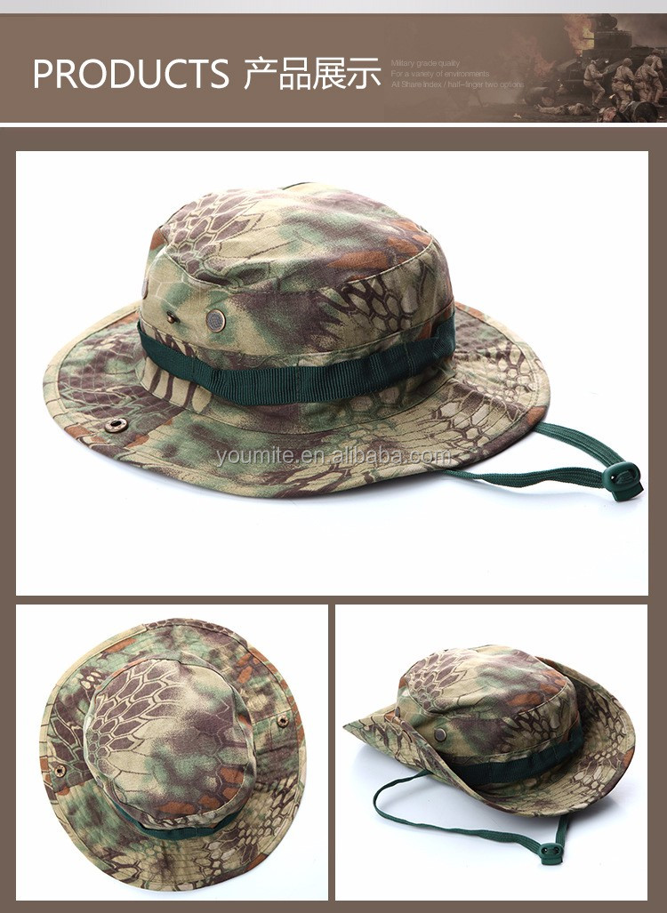 New arrival 11 colors Camo Military boonie hat custom bucket hat with string  embroidery 77f56188cb65