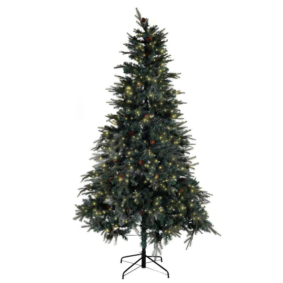 Toolsempire 7.5 ft Pre-lit Artificial Christmas Tree w/Stand & 750 LED Lights Mixed Hinged Tree for Indoor Outdoor Christmas New Year Decor