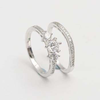 Saudi Arabia Gold Wedding Sterling Silver Ring With Cz Diamond Set