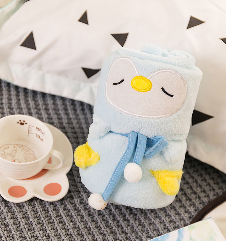 Wholesale lovely cartoon owl baby blanket super soft flannel blanket, Sky blue or customized