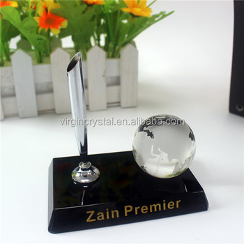 Hot Sale Crystal Globe Paperweight with Crystal Pen Holder for Office Decoration Souvenir