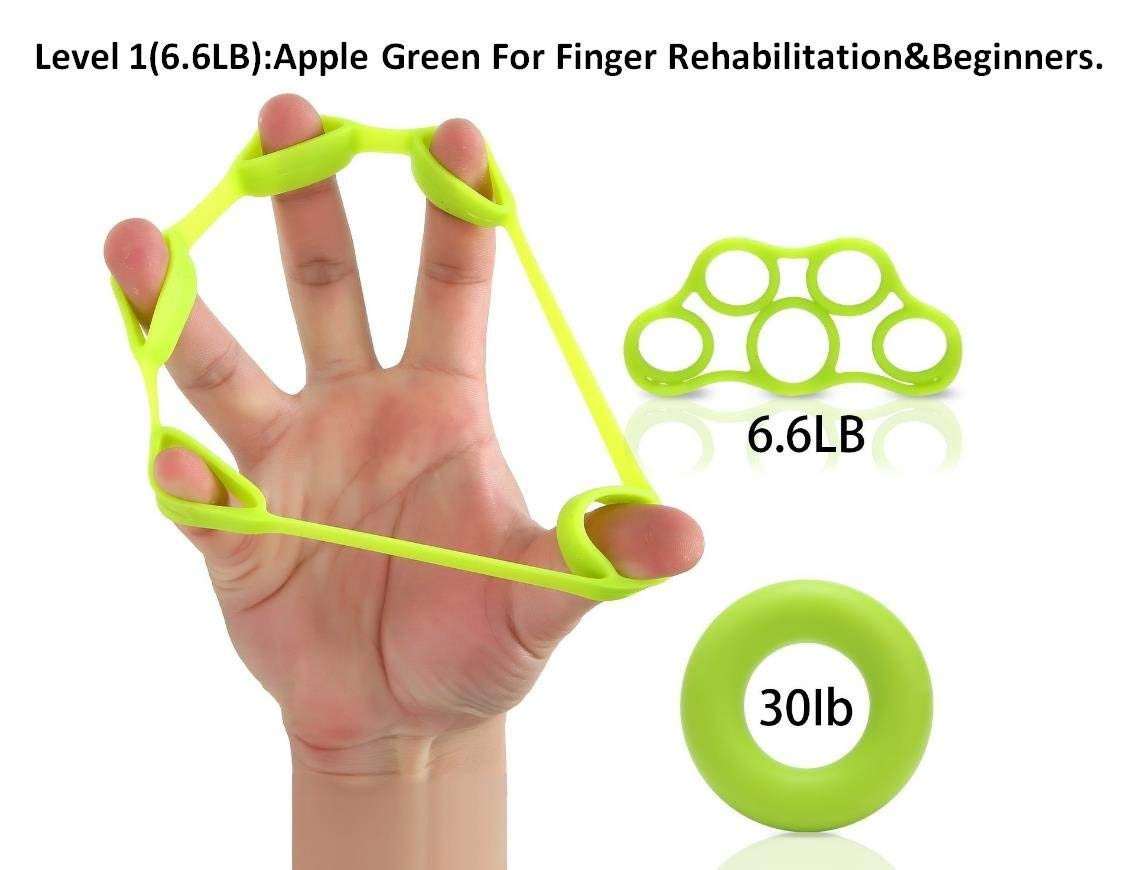 Lelefish Hand Strengthener Finger Stretcher Hand Resistance Bands Hand Extensor Set Silicone Hand Grip Trainer Rings Finger Exerciser Workout, 2Pcs Included (Level 1(6.6LB))