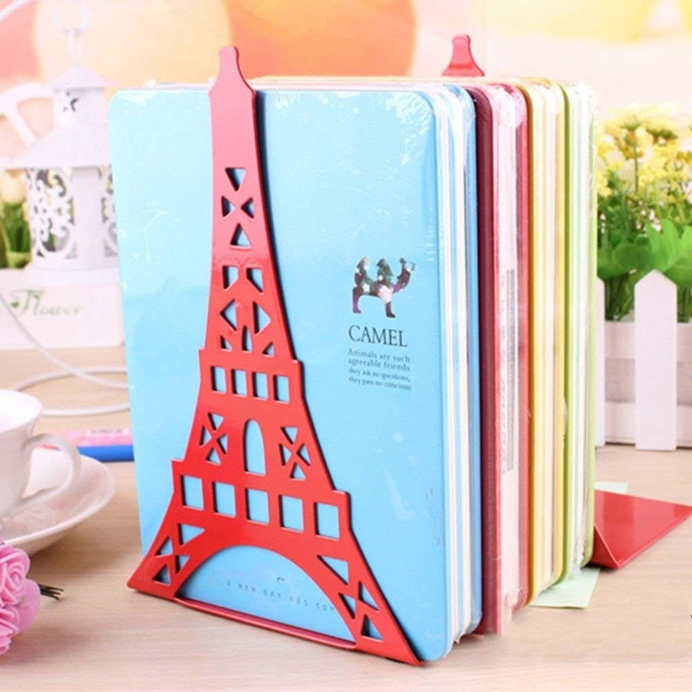 OKOKMALL US--2x L-Shaped Anti-skid Bookends Ends Shelf Bookend Magazine Stands Eiffel Tower