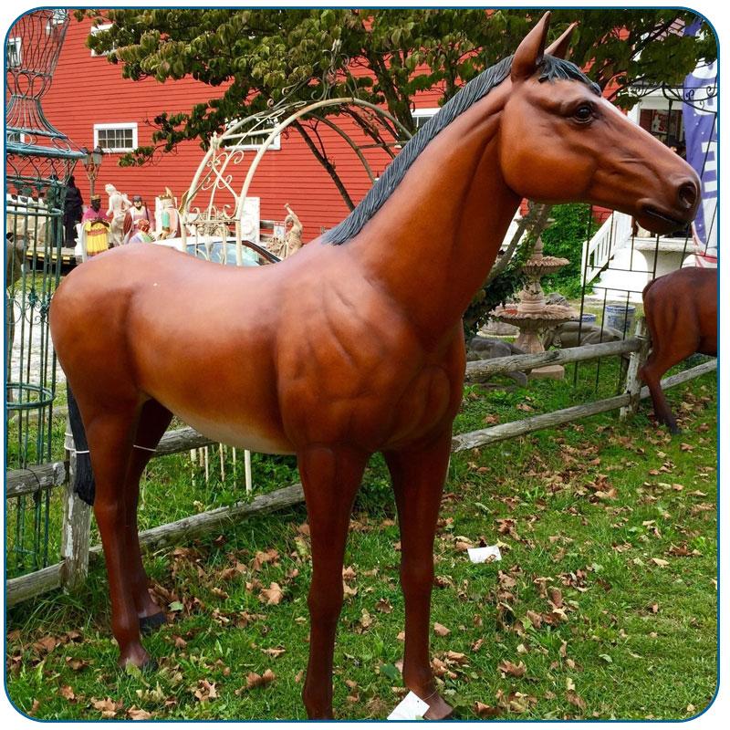 outdoor fiberglass plastic big size horse statue for sale