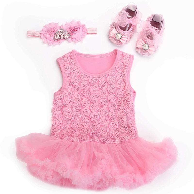 09c76881da371 Get Quotations · Baby Rosette Tutu wedding party dresses Rhinestone Shoes  Tiara Headband Set,vestido bebe menina,