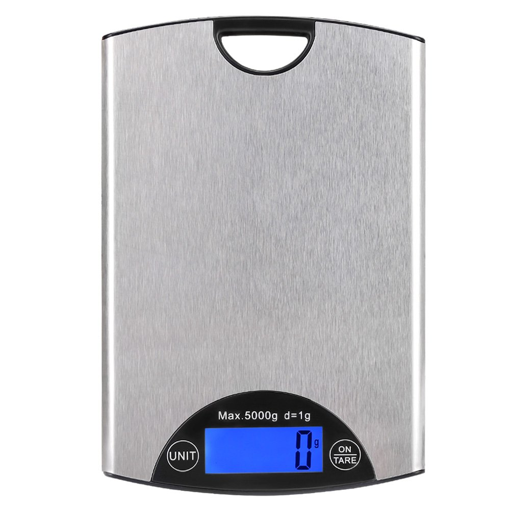 """KEDSUM Digital Kitchen Scale, 33lb/15kg Cooking Scale, Multifunction Food Scale with Water-Resistant Tempered Glass Surface, Anti-Fingerprint Stainless Steel Brushed Platform (5kg Capacity-8"""")"""