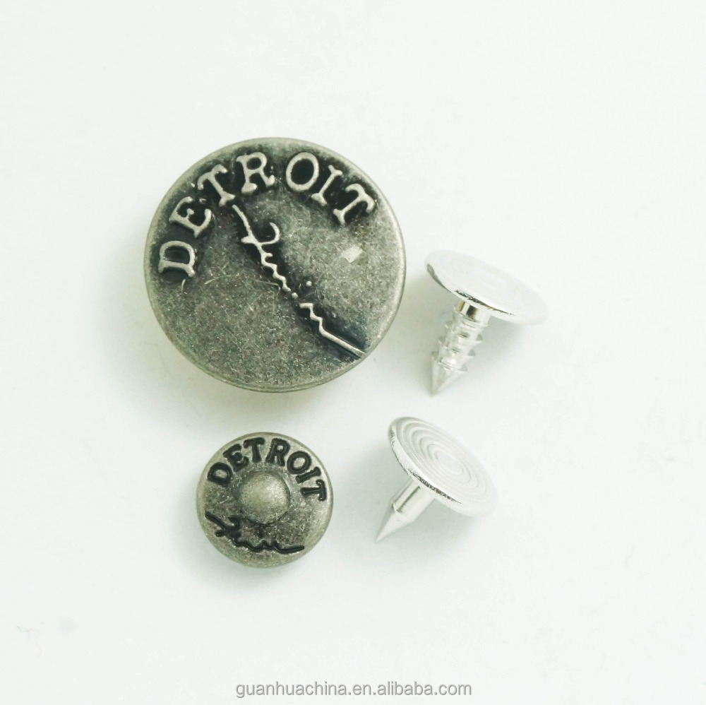 custom embossed vintage brass denim jeans buttons and rivets
