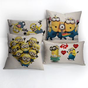 Throw Minion print linen pillows plain cushion covers bulk