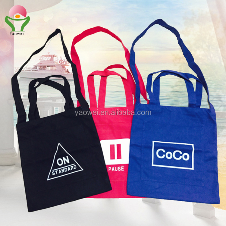 newest fashion promotional custom printing plian 8oz red/bule cotton canvas tote bags