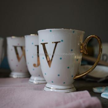 Gold Initial Mug With Custom Name Personalized Coffee Mugs Buy Gold Initial Mug Personalized Coffee Mugs Bulk Gold Tea Cups Product On Alibaba Com