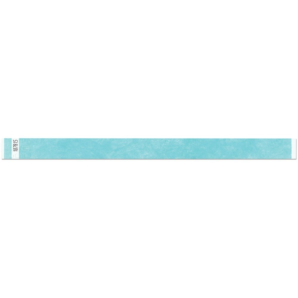 3/4 Inch Tyvek Tytan-Band® Wristbands - Economical Comfortable Tear Resistant - Aqua - 500 Pieces Per Box