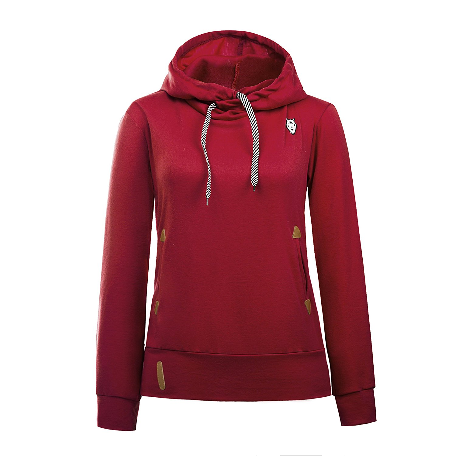 ForeMode Women Solid Funnel Neck Pullover Hooded Sweatshirt