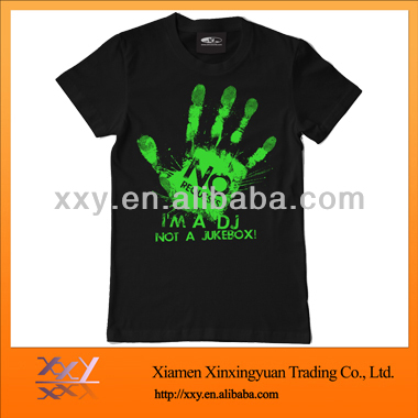 Men's Cotton Night Glow T-shirt, Customized Colors are Accepted
