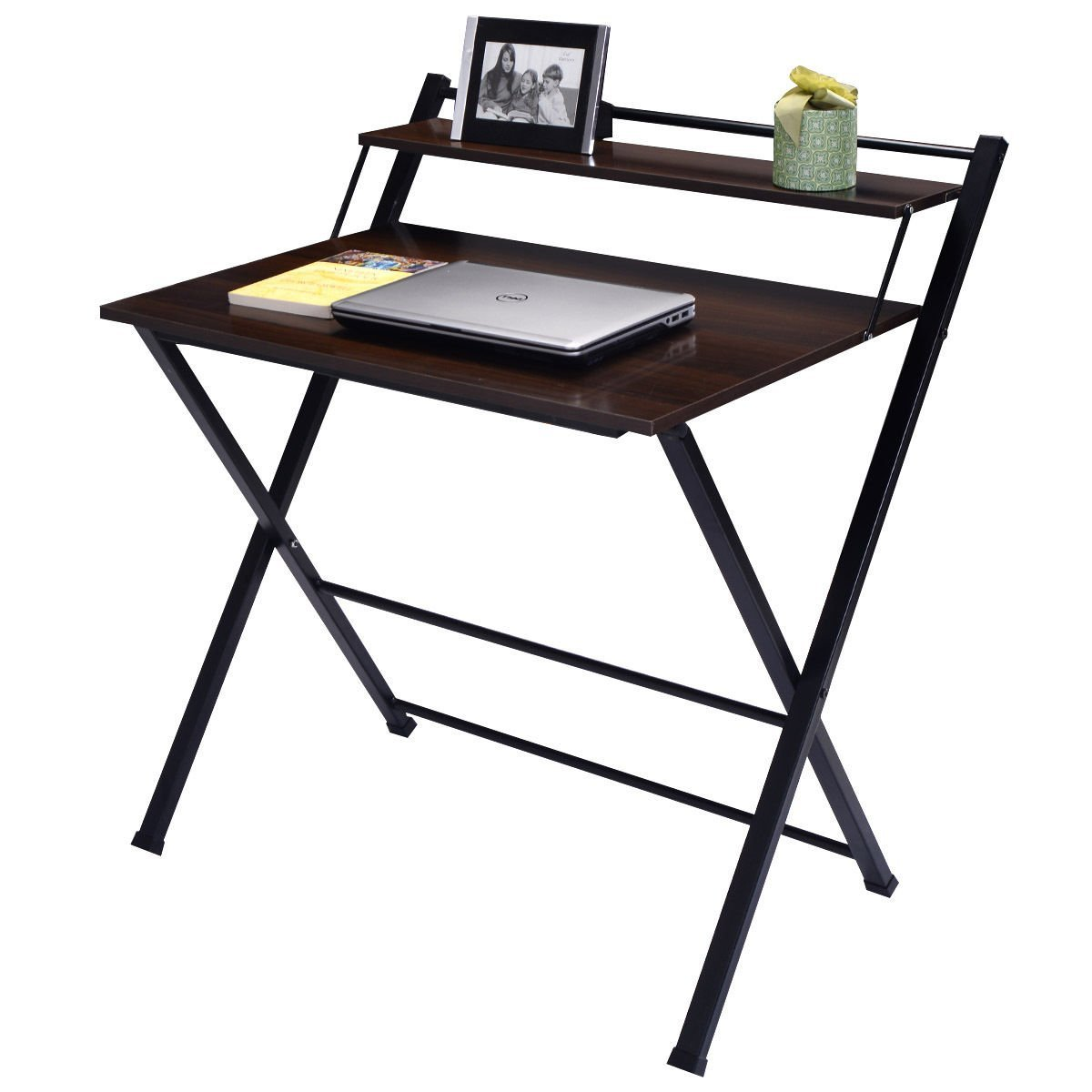 Beau Wakrays 2 Tier Folding Computer Desk Home Office Furniture Workstation Table  Student Study