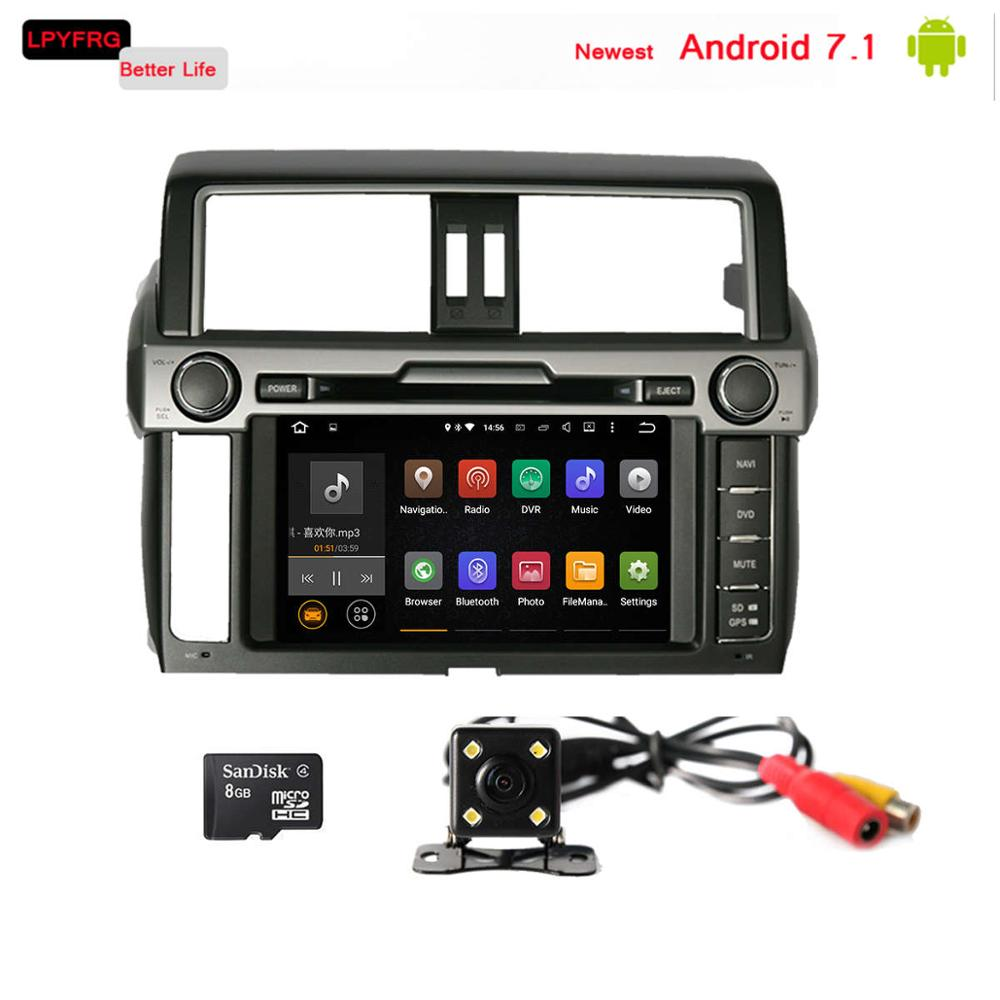 android 7.1 touch screen car dvd gps for toyota prado 150 lc150 land cruiser 2014-2017 2gb ram built-in 3/4g network mirror