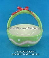 Ceramic green basket for Easter decoration