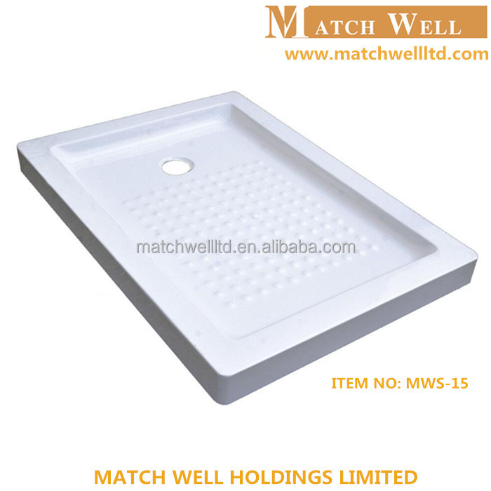 custom size deep square rectangular plasitc acrylic fiberglass bathroom shower tray and shower pan shower base for adults