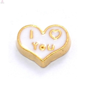Beautiful white heart I Love You floating charms for locket jewelry