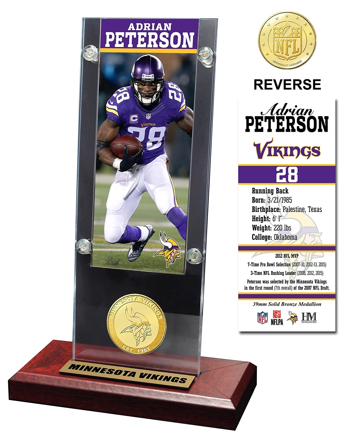 Get Quotations NFL Minnesota Vikings Adrian Peterson Acrylic Ticket Bronze Coin