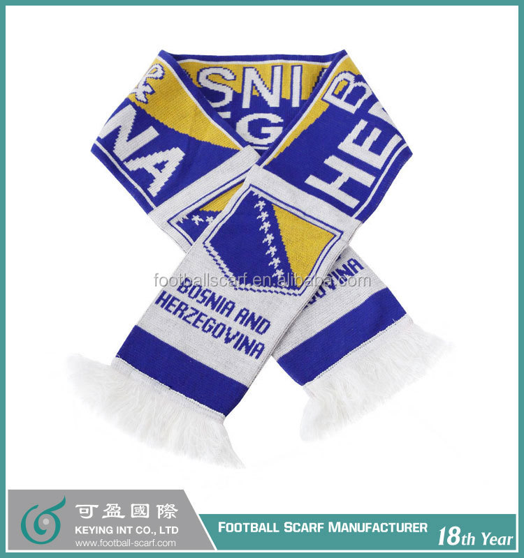Acrylic Scarf for Customized Knitted Jacquard National Flag Designs