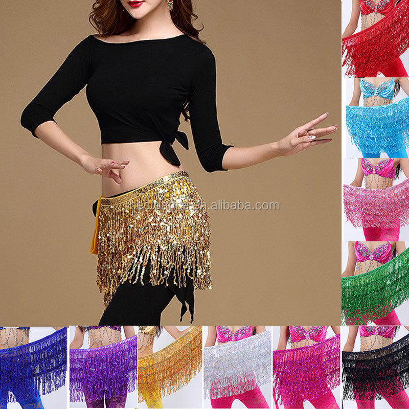Belly Dance Costume Sequin Tassel Fringe Hip Scarf Belt Waist Wrap Skirt TO