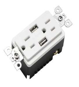 BAS15-2USB Colored electrical duplex gfci high speed usb charger receptacle